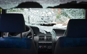 54085731 car smashed windshield